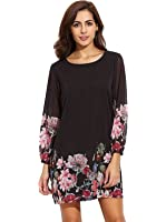 Floerns Women's Floral Print Chiffon Sleeve Round Neck Casual A-line Shift Dresses