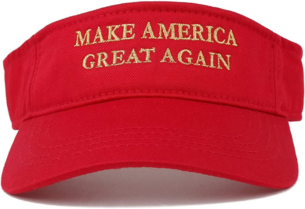 Quality Embroidered 100/% Cotton One Size, Red w//Metallic Gold Make America Great Again Donald Trump Visor