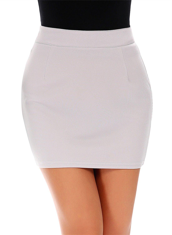 FISOUL Women Tight Mini Skirt Bodycon Glittery High Waist Trendy Shining Skirt With Side Zipper Grey XL
