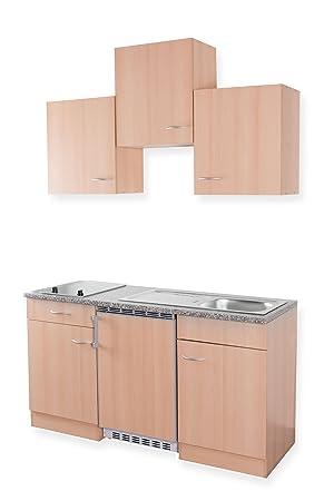 Mebasa MEBAKB1500BBC Miniküche, Küchenblock, Singleküche in Buche ...