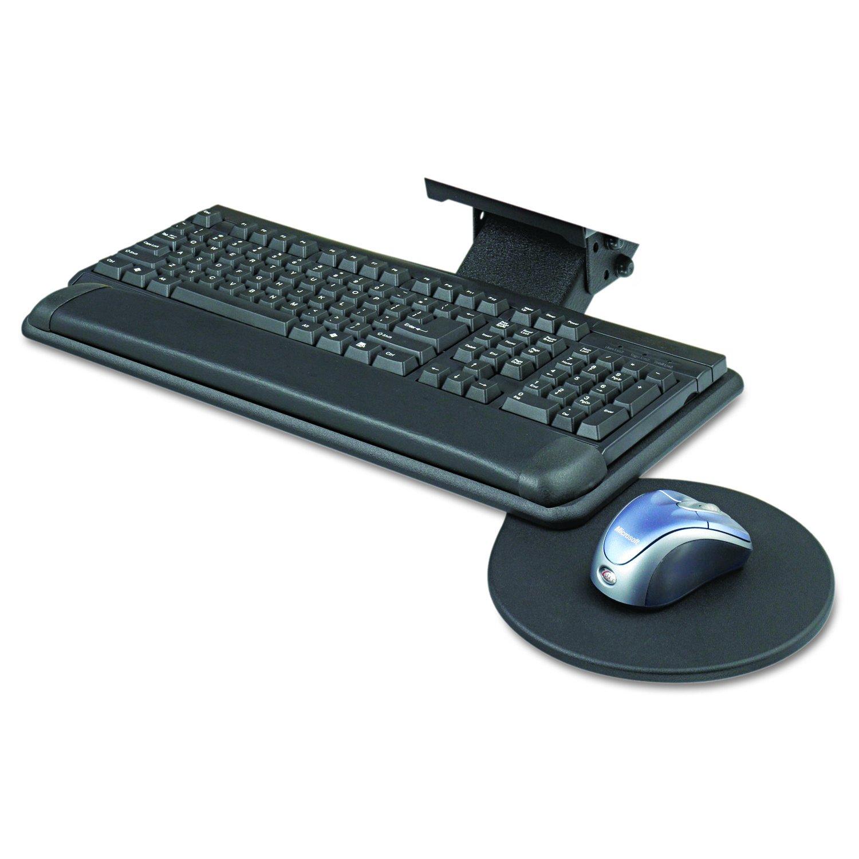 Safco Products Adjustable Keyboard Platform with Swivel Mouse Tray 2135BL Black, Ergonomic, Tucks Under Desk, Slim Design by Safco Products