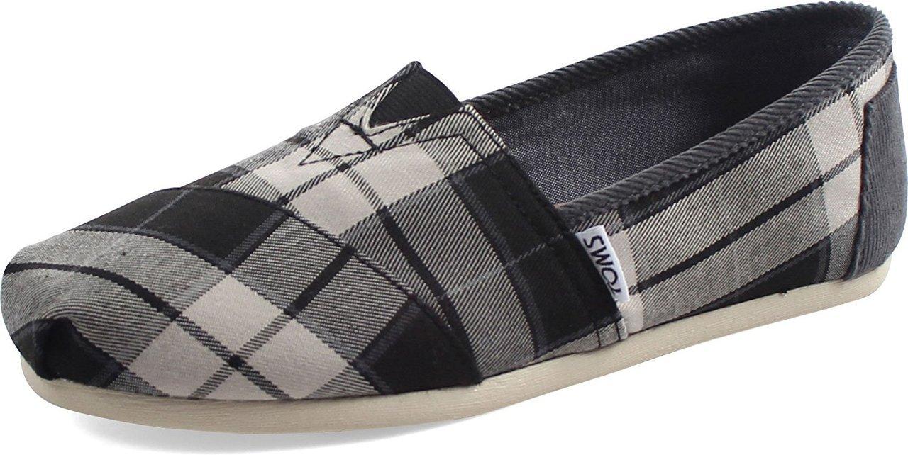 TOMS Seasonal Classics Black/White Plaid Women's Slip on Shoes 6 B(M)US