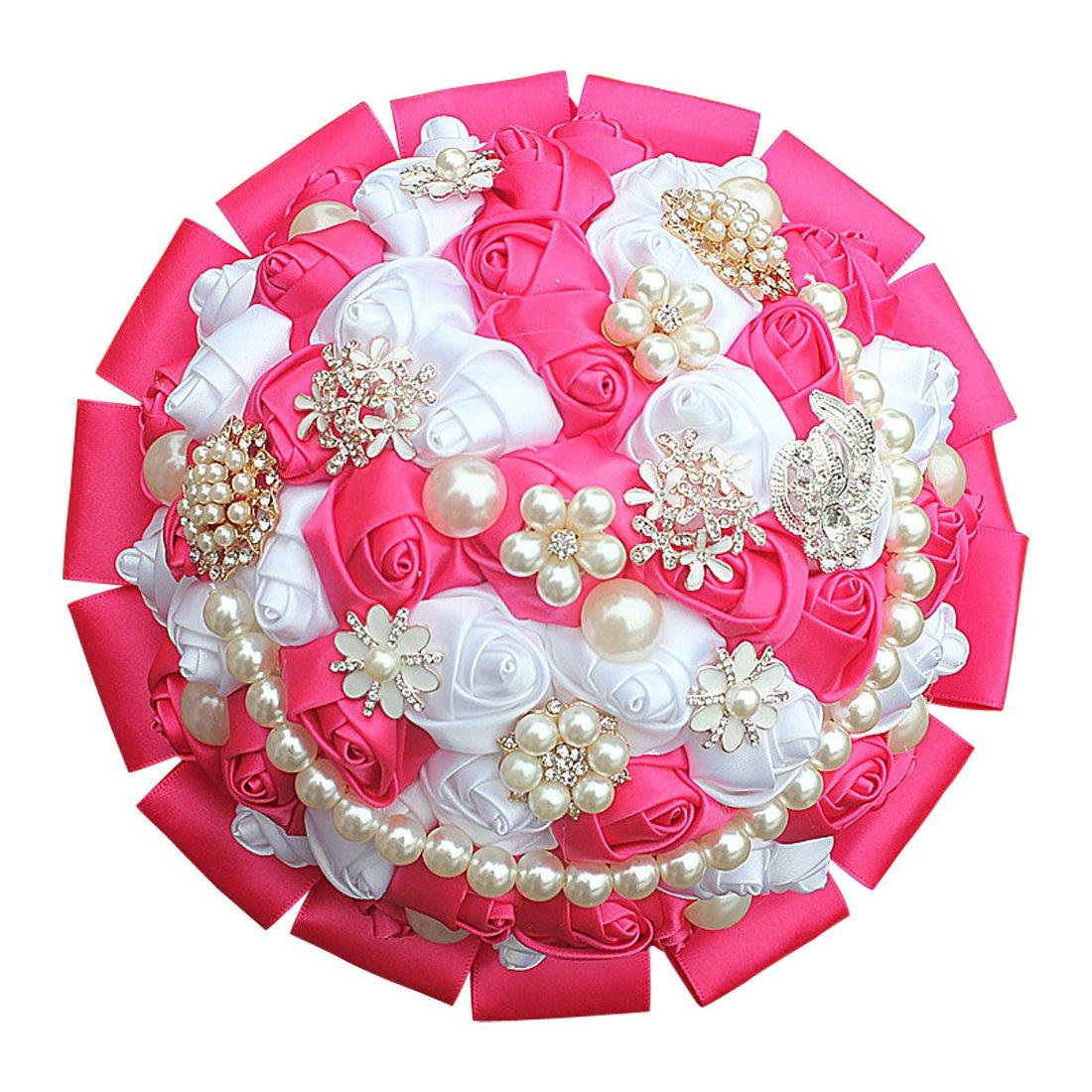 最低価格の dwedding Romantic Bride花嫁ウェディングHolding Bouquet Rosesクリスタルシルクリボン18 cm/ 7 Romantic 7