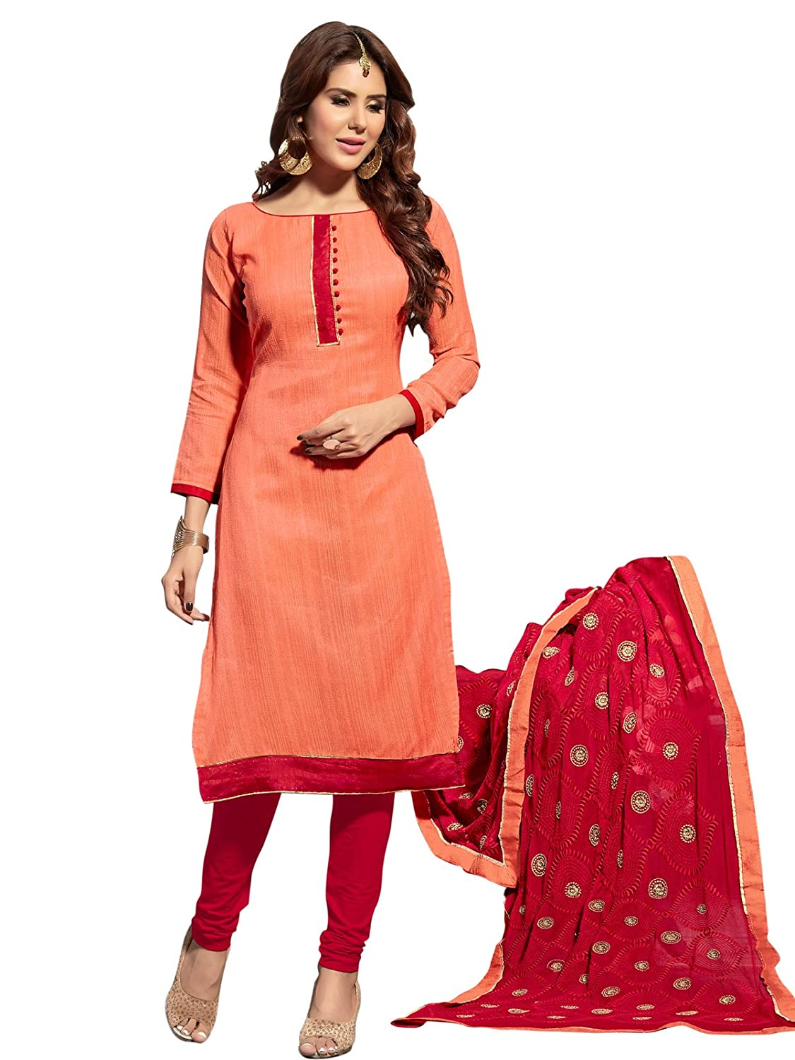 de572d1956 DHRUVI TRENDZ Jute Silk Solid Unstitched Dress Material with Embroidered  Dupatta(Orange): Amazon.in: Clothing & Accessories