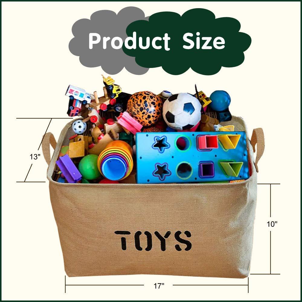 Children Books Baby Clothing Storage Basket For Organizing Baby Toys Kids Toys Gift Baskets -2 Pcs Storage /& Toys Bin Youdepot Large Jute Storage Bin 17 x 13 x 10 Large Enough For Toy Storage