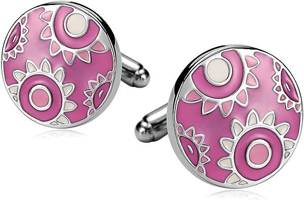 SonMo Gemelos Acero Inoxidable Gemelos de Camisa Hombre Gemelos Redondo con Padrón de Flores Color Rosa: Amazon.es: Joyería