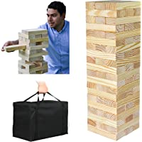 PatioFestival Giant Wooden Tumbling Timbers with Storage Bag, Hardwood Block Stacking Game for Yard Games (60 Pieces, Over 5 Feet)