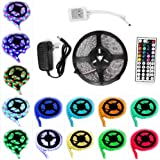 ANNT LED Flexible Strip Lights 16.4ft 300leds 5m Waterproof Adhesive Light Strips RGB Color Changing Smd3528 ribbon Kit with 44key Remote with Power Supply