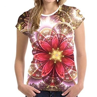 aab16f64 Image Unavailable. Image not available for. Color: TEXAS, FOOTBALL COUNTRY  3D Pretty Floral Printed Women T Shirt Designer Short Sleeved ...