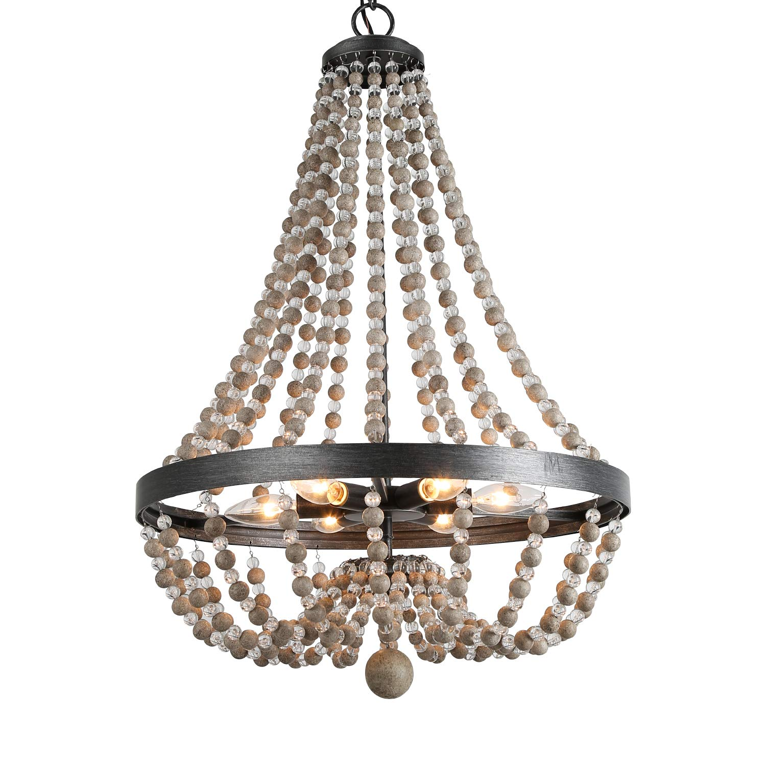 LALUZ 6-Light Wood Bead Empire Chandelier, Pendant Lighting Fixture for Kitchen Island, Natural Wood Beads, 28.3''H x 20.1''W