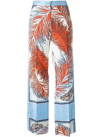 e5cd68ad7b3f Emilio Pucci Feather Print Silk Pants (44) at Amazon Women s ...