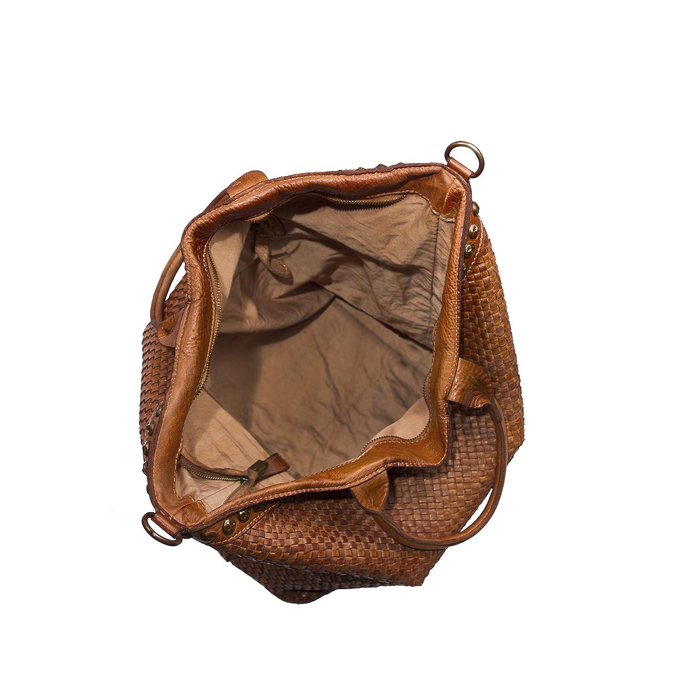 1fc64ca85 Musa 48x40x16 cm V100618CP-CUOIO Bolso shopper de mano en genuino cuero  vintage tejido a mano ...