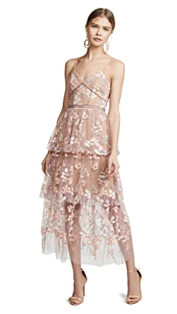 a7e26cadd1ae Amazon.com: Self Portrait Women's Floral Embellished Midi Dress ...