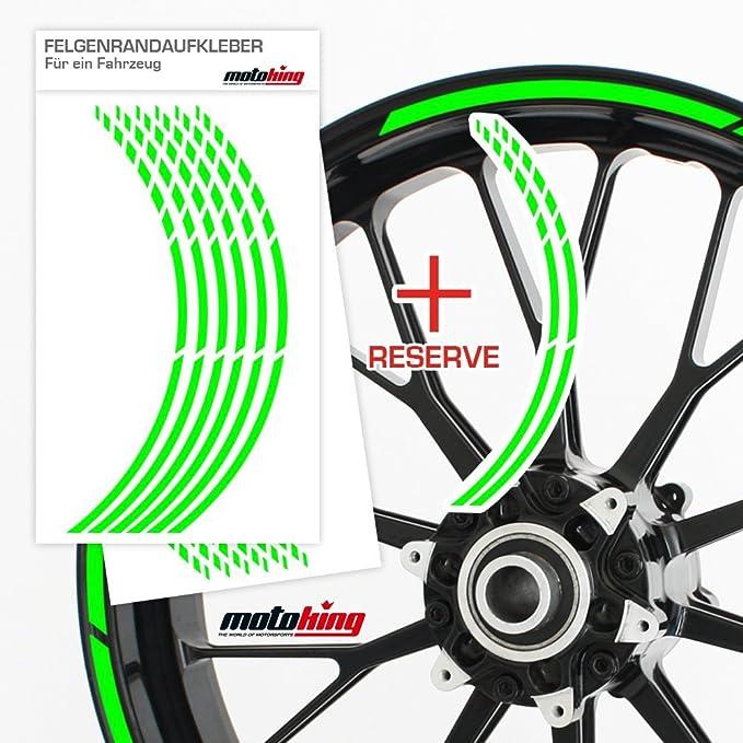 f/ür 15 bis 19 NEON PINK Motoking Felgenrandaufkleber im GP Design in Neonfarben