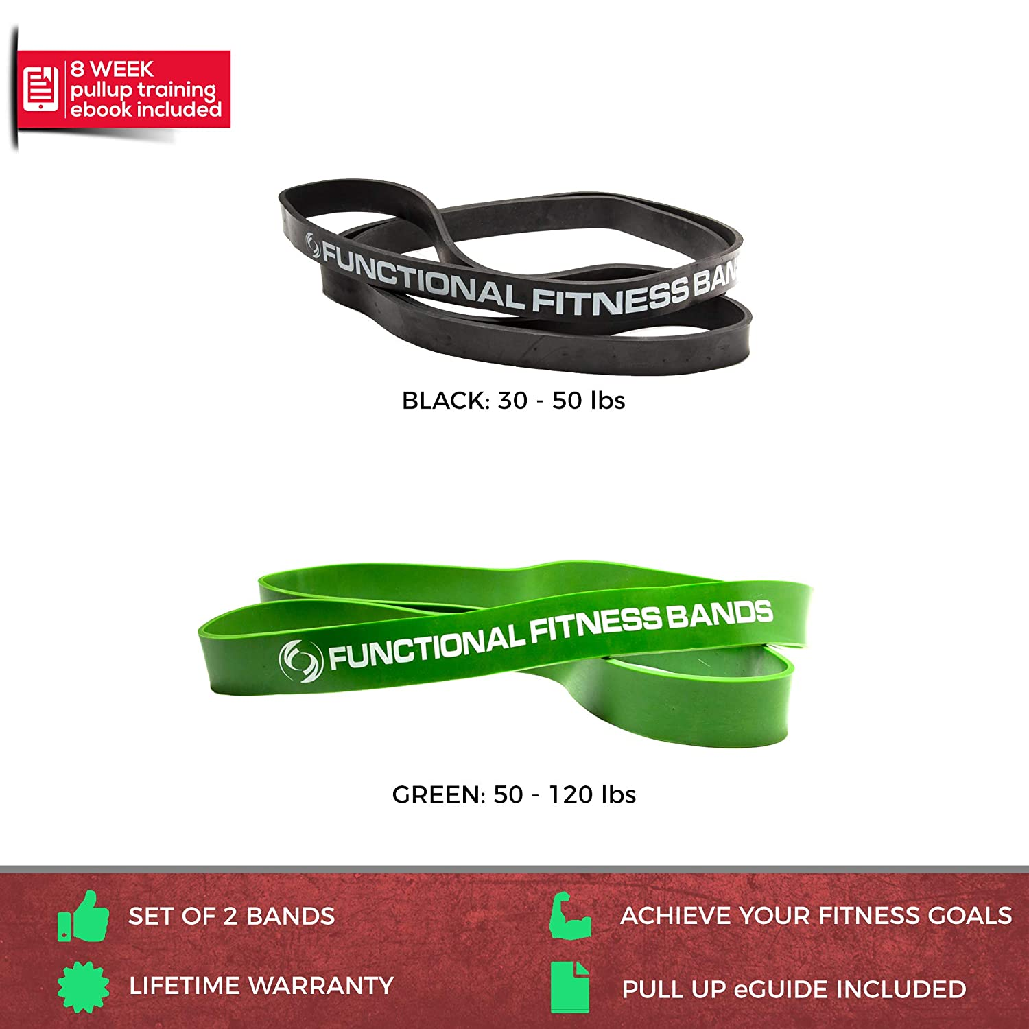 Pull Up Assist Bands Set by Functional Fitness Heavy Duty Resistance and Assistance Training Band Rubberbanditz FF-PU24