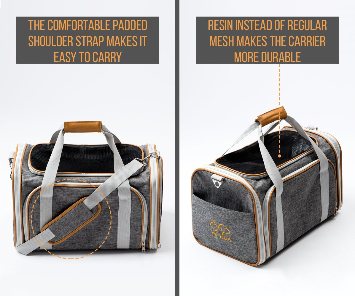 PETYELLA Luxury Pet Carrier + Fleece Blanket & Bowl - Airline Approved Innovative Design - Lightweight Dog & Cat Carrier by PETYELLA (Image #5)
