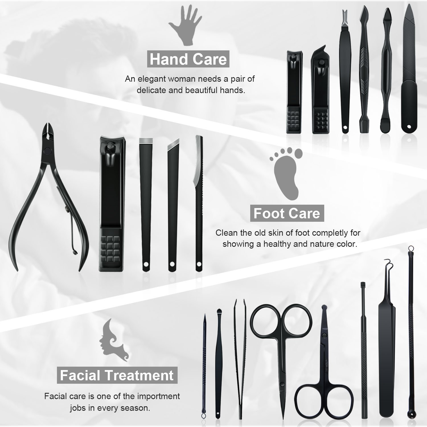 Manicure Set Professional Nail Clippers Kit Pedicure Care Tools-Stainless Steel Men Grooming Kit 20Pcs With Black PU Leather Case for Travel or Home (Black/Blue) by Keiby Citom (Image #4)