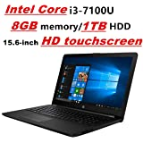 "HP Pavilion Laptop PC Notebook, Intel Core i3-7100U, 8GB DDR4, 1TB HDD, 15.6"" HD touchscreen, DVD-Writer, Card Reader, WIFI, Bluetooth, Windows 10"
