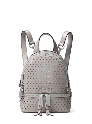 d770ce3bf4a7df MICHAEL Michael Kors Rhea Mini Perforated Leather Backpack in Pearl Grey