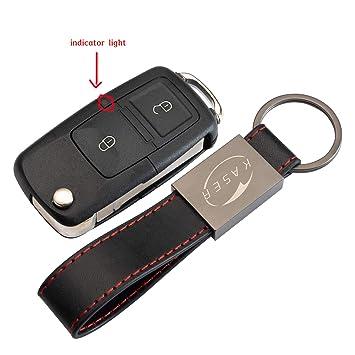 Carcasa Funda Llave Remoto Mando 2 Botones para VW Volkswagen Golf Tiguan Passat Seat Skoda con Llavero de Cuero KASER