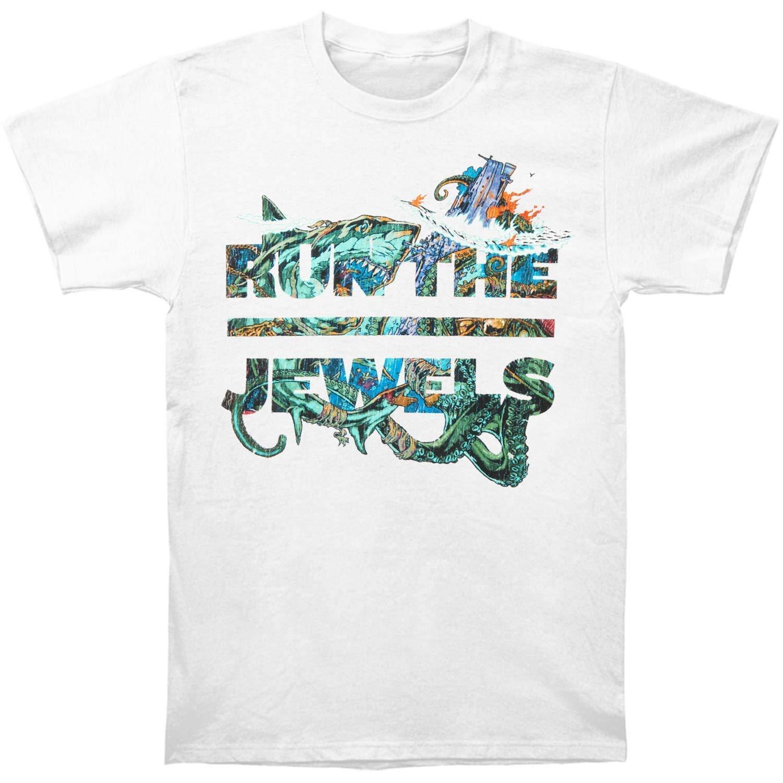 f42a29a745dc Amazon.com: Run The Jewels Men's White Shark Slim-Fit T-Shirt White XL:  Clothing