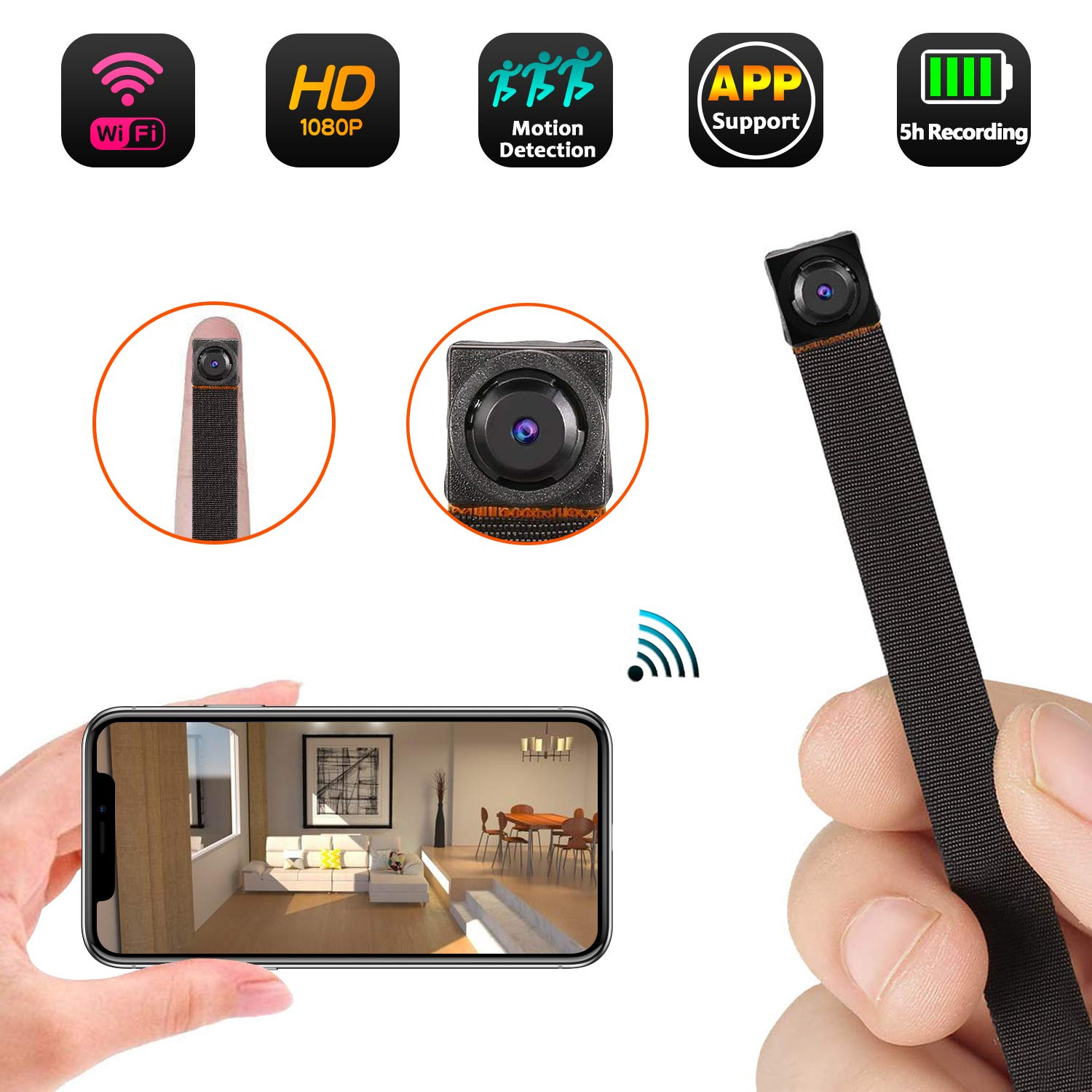 Mini WiFi Camera 1080P Wireless Hidden Camera Small Nanny Cam with Motion Detection Home Security Recording Remote View Indoor Outdoor Using by FreedomCam