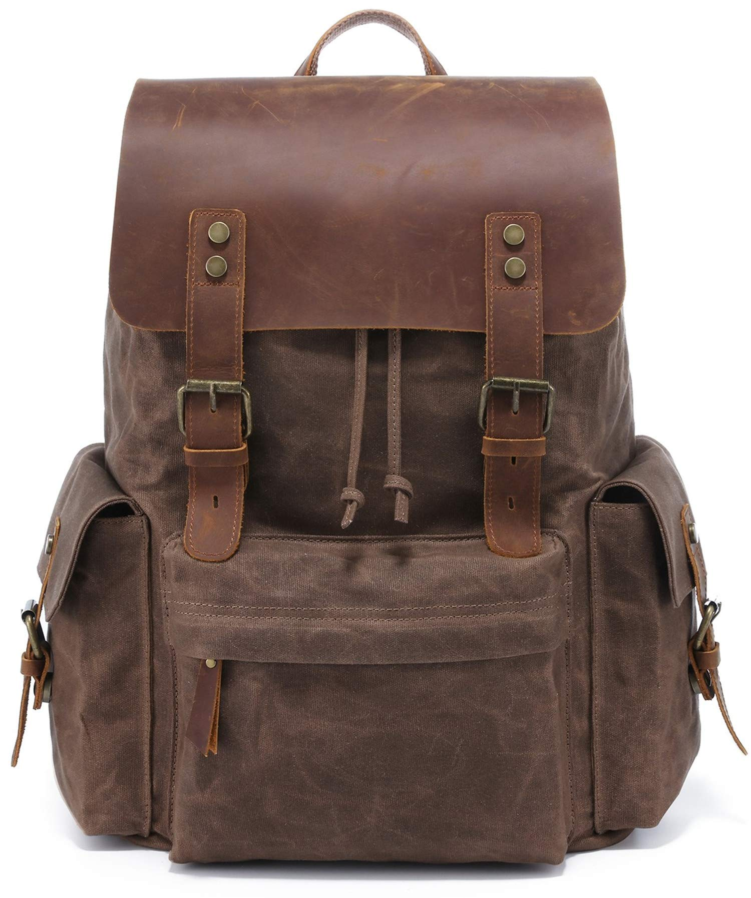 2019 New Model vintage waxed canvas backpack 15.6 Inch Laptop leather waterproof Bag Rucksack men computer Backpack for Men,Business Leisure Outdoor hiking travel backpack(Coffee) by MUMAIS