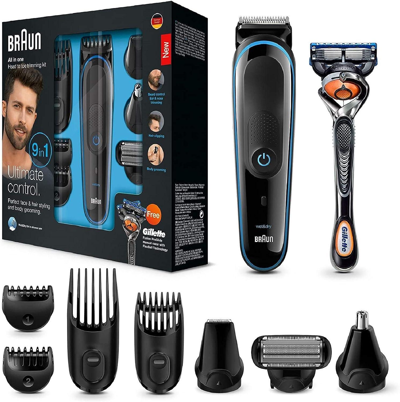 Braun 9 en 1 MGK3085 - Corta Barbas Hombre Todo en 1, Recortadora Barba, Depiladora Masculina, Máquina Cortar Pelo, Cortapelos Nariz y Orejas
