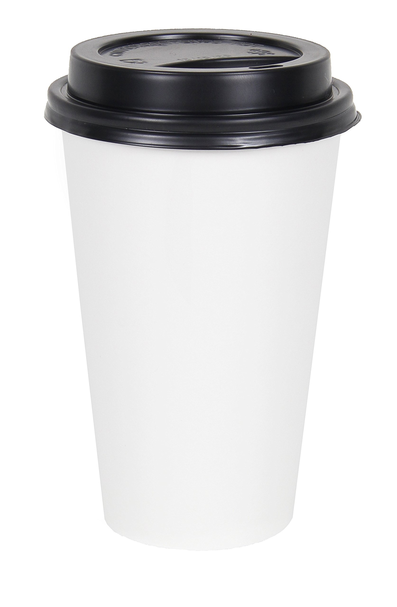 2dayShip 50 Pack WHITE Paper Coffee Hot Cups with BLACK Travel Lids - 16 ounce