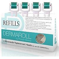 Derma Roller Microneedle 4 Piece Refill Only Kit [DERMAROLL REFILLS 0.25mm by Prosper Beauty] Face Roller Replacement…