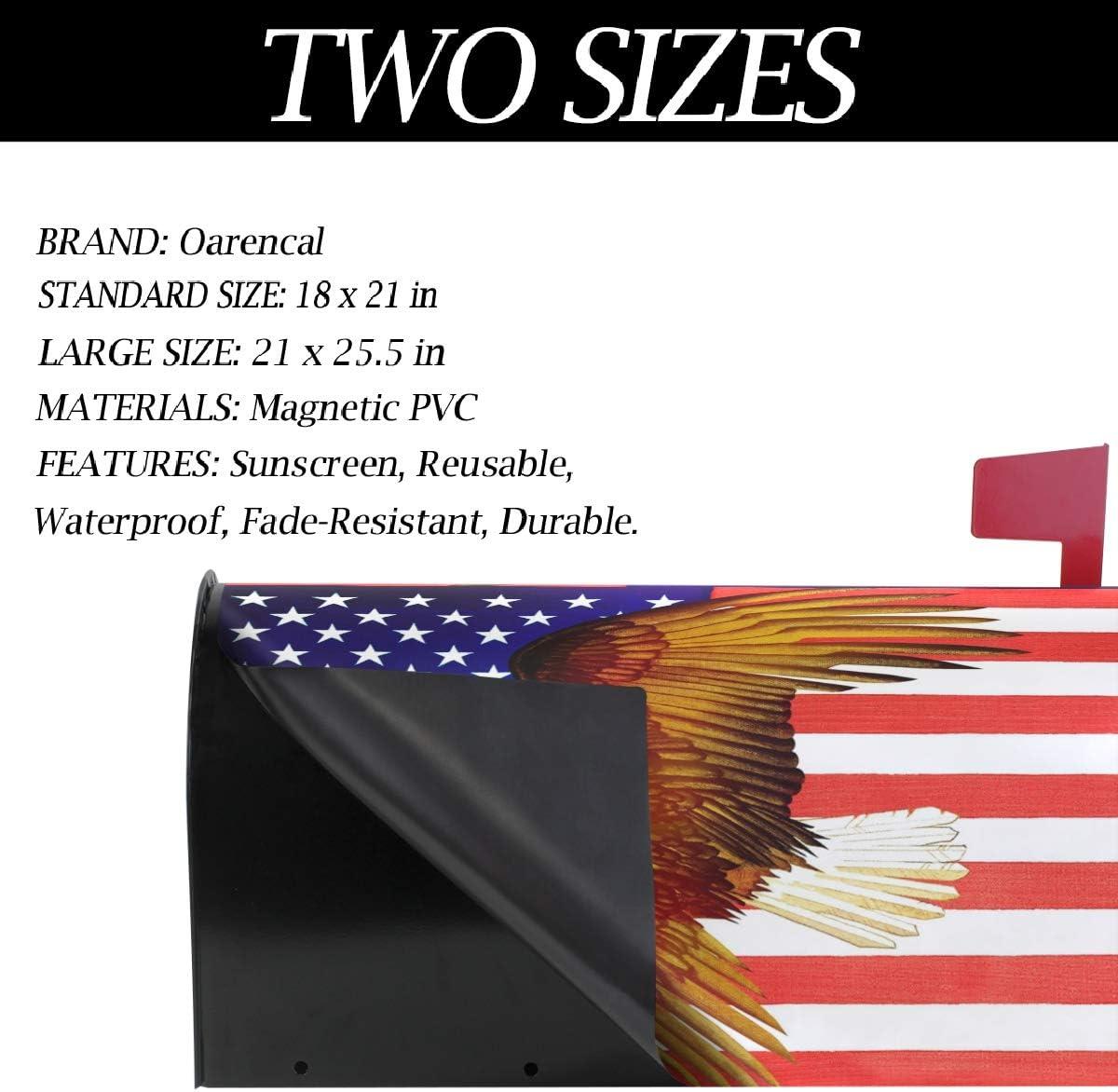 Oarencol Patriotique pygargue /à t/ête blanche avec drapeau am/éricain Vintage Couvertures de bo/îte aux lettres Magn/étique Grande taille 25,5 x 21 cm 18 X 21 multicolore