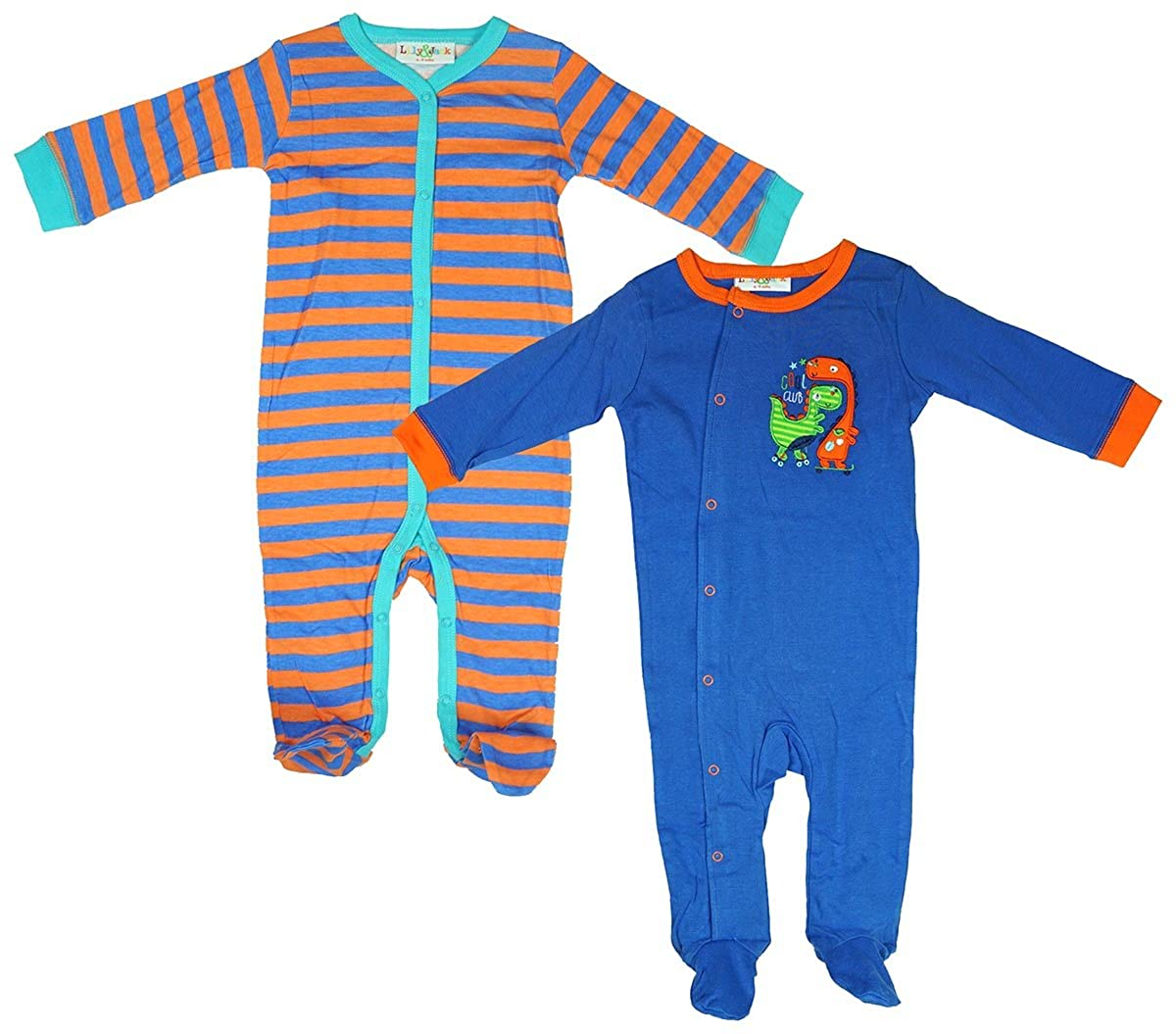 Jack and Lily Boys Baby Pack of 2 Cool Club Dinosaur Sleepsuit Rompers Sizes from Newborn to 9 Months