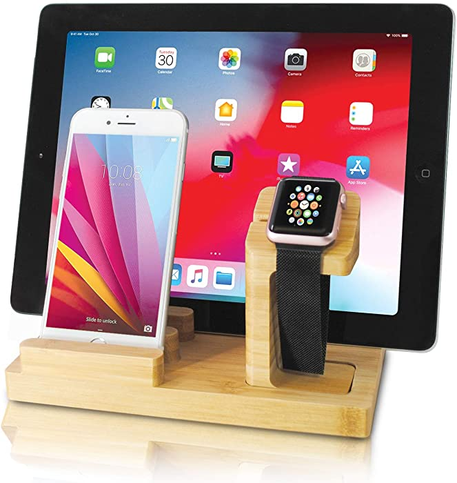 Audiology Bamboo Charging Station Multi Device Charging Station for Phones, Tablets, Watches with Four USB Ports and USB Cable