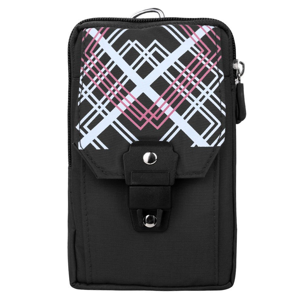 SLectionAccess Design Nylon Travel Pouch with Buckle and Carabiner Wallet Case - Retail Packaging - Black