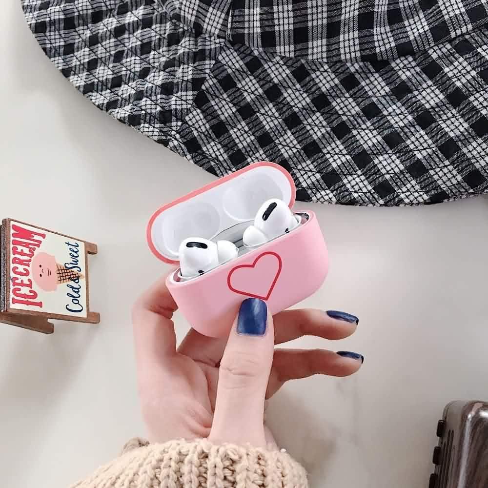Pink Matte Plastic Case Niedliches Liebesherz-Muster Ultrad/ünnes Airpods Case Harter PC-Fall mit Schlagfestigkeit Schutzh/ülle f/ür Airpods 1 Airpods 2 LAPOPNUT f/ür Airpods H/ülle