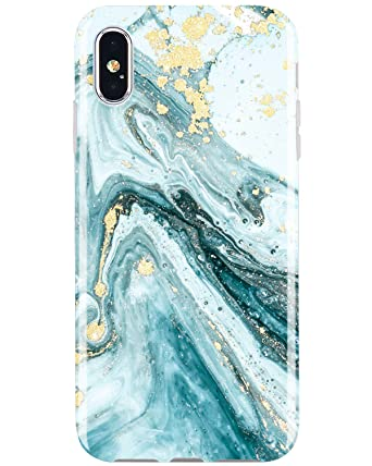 JIAXIUFEN Compatible iPhone X iPhone Xs Case Gold Sparkle Glitter Blue Marble Slim Shockproof Flexible Bumper TPU Soft Case Rubber Silicone Cover ...
