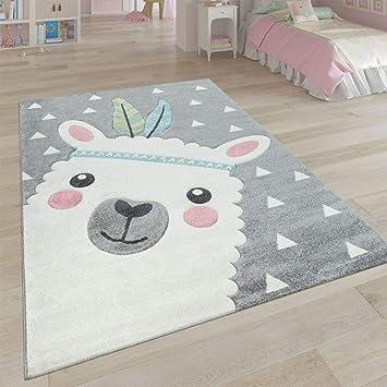 Tapis Enfant Chambre Enfant Aspect 3D Adorable Alpaga Design Tons Pastel en  Gris, Dimension:120x170 cm