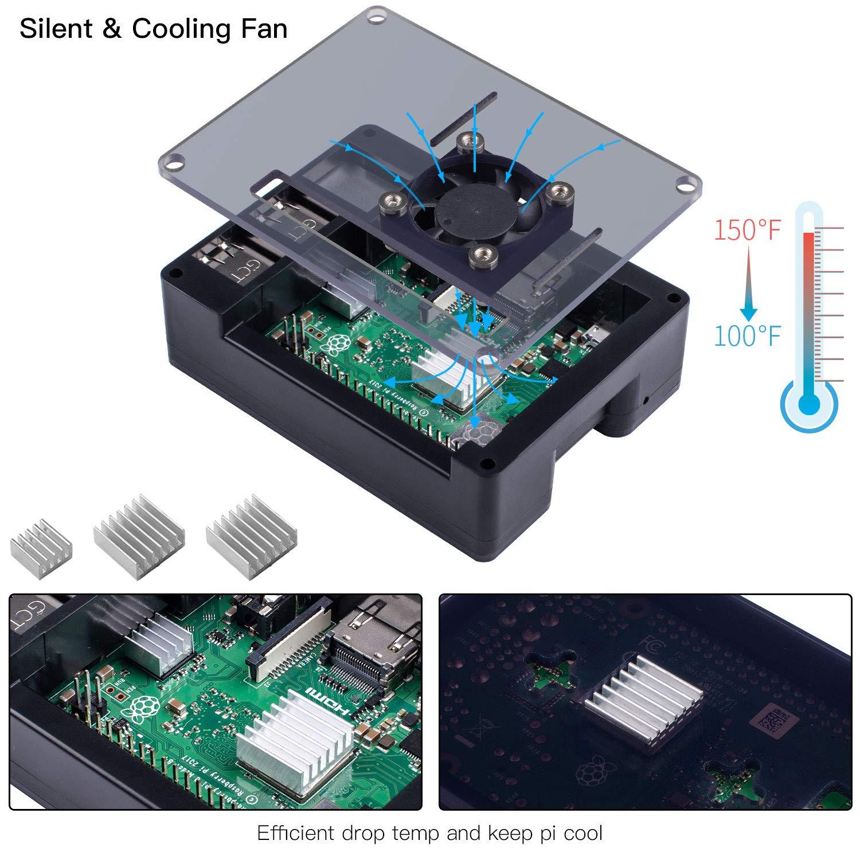 Smraza Raspberry Pi 3 B+ Case with Fan, RPI Heatsinks, 5V 2.5A Power Supply for Raspberry Pi 3 Model B+(B Plus), Compatible with Raspberry Pi 3 Model B, Pi 2 Model B (4 Layers Case) by Smraza (Image #2)