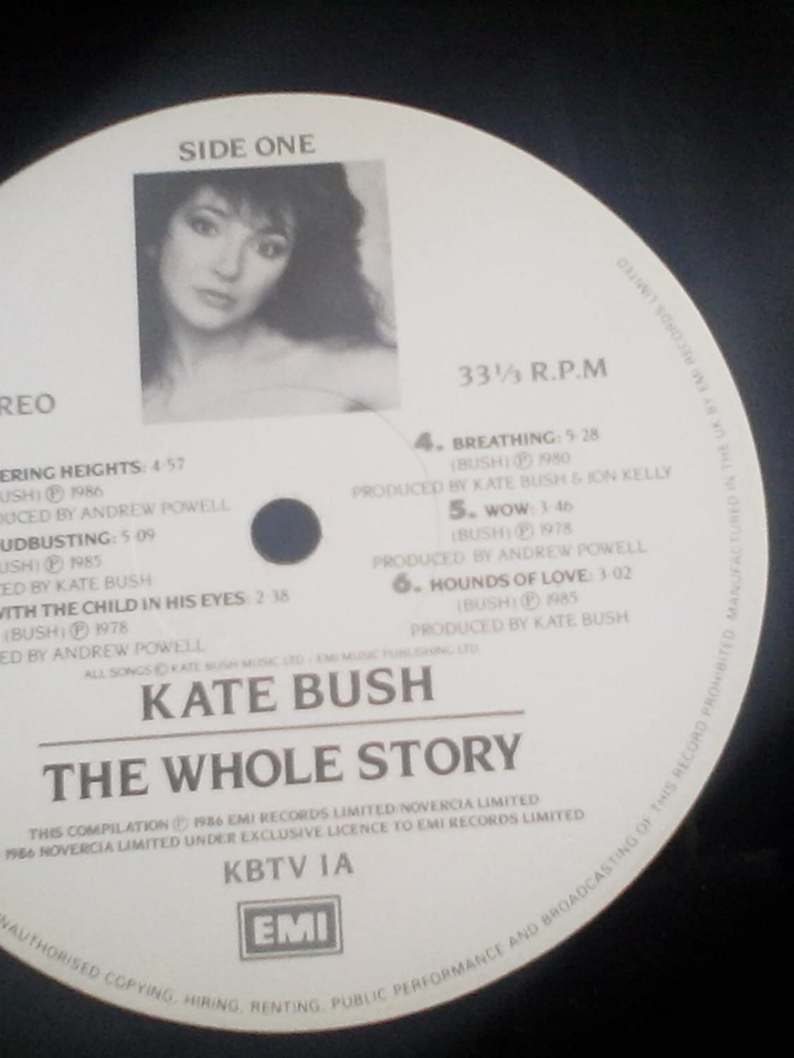 Unknown - THE WHOLE STORY VINYL LP [KBTV1]1986 KATE BUSH