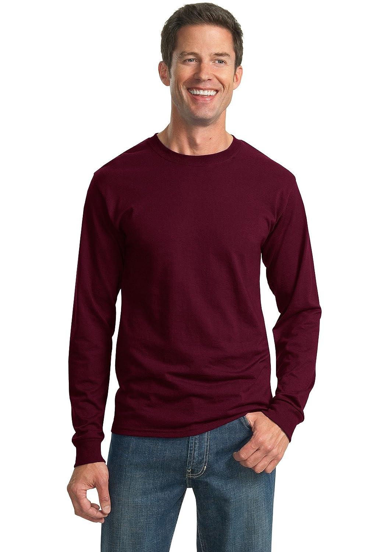 Jerzees Men's Big Crewneck Long Sleeve T-Shirt, Maroon, XXX-Large