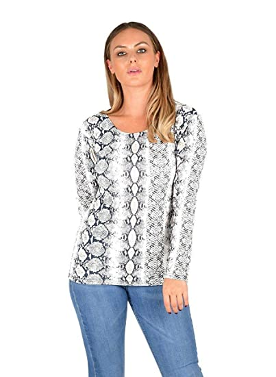 b0ae231e143 EASY BUYY New Womens Ladies Printed Round Neck Long Sleeve Top (8 10 S. Roll  over image to ...