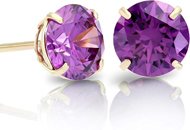 Details about  /Quality AAAA Amethyst Stud Earrings for Women in Silver//Gold//Platinum