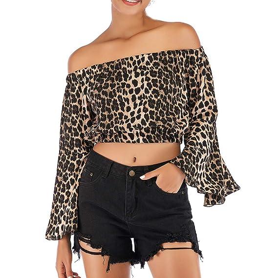 Bestow Camiseta Corta con Estampado de Leopardo Camiseta de Manga Corta con Estampado de Leopardo sin Mangas con Cuello en el Hombro, Manga Corta: ...