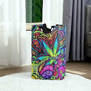 DAOPUDA Laundry Bag Multi Color Marijuana Leaf Weed Art Large Laundry Hamper Bags for Heavy-Duty Use with Strap,Standing Clothes Basket Collapsible for Dorm Travel Bathroom
