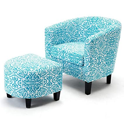 Amazon.com: Hebel Accent Chair w/Ottoman Round Arms Curved ...