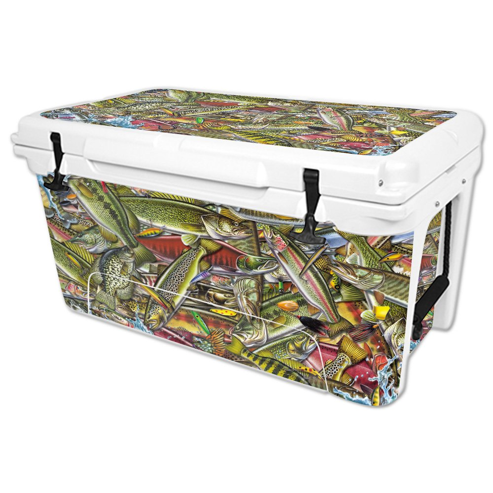 MightySkins Skin Compatible with RTIC 65 qt Cooler (2016) – Fish Puzzle | Protective, Durable, and Unique Vinyl Decal wrap Cover | Easy to Apply, Remove, and Change Styles | Made in The USA