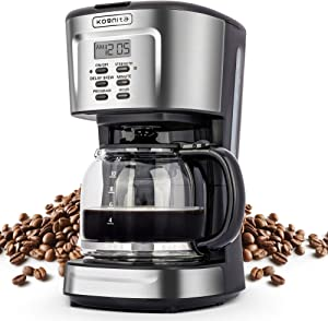 Coffee Machine, 2-12 Cup Programmable Coffee Maker, Small Stainless Steel Coffee Maker with Auto Shut-off, Non-stick Heating Plate, Glass Carafe, ETL Listed