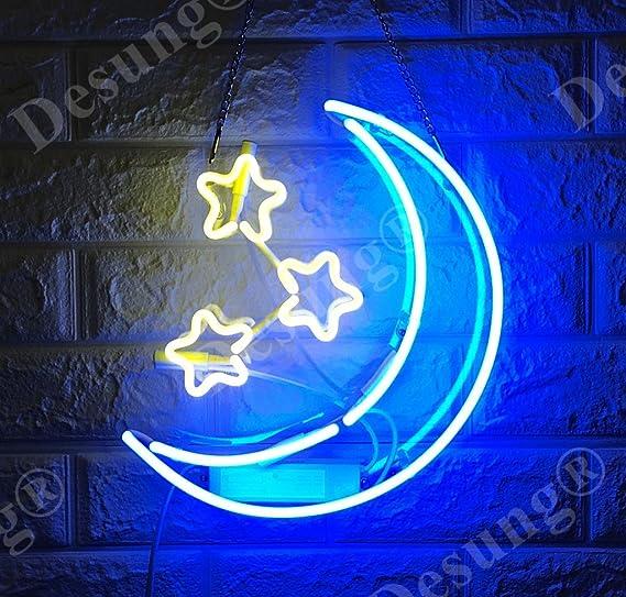 "New White Moon Acrylic Back Neon Light Sign 14/"""