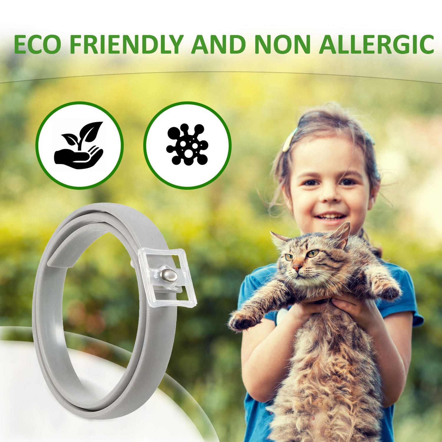 Puppy Collar Flea and Tick Collar for Cats Cat Collar Adjustable -Fits for Small Medium Large Pets Cat Flea Treatment 8 Months Effective Protection Waterproof Flea Treatment Cat