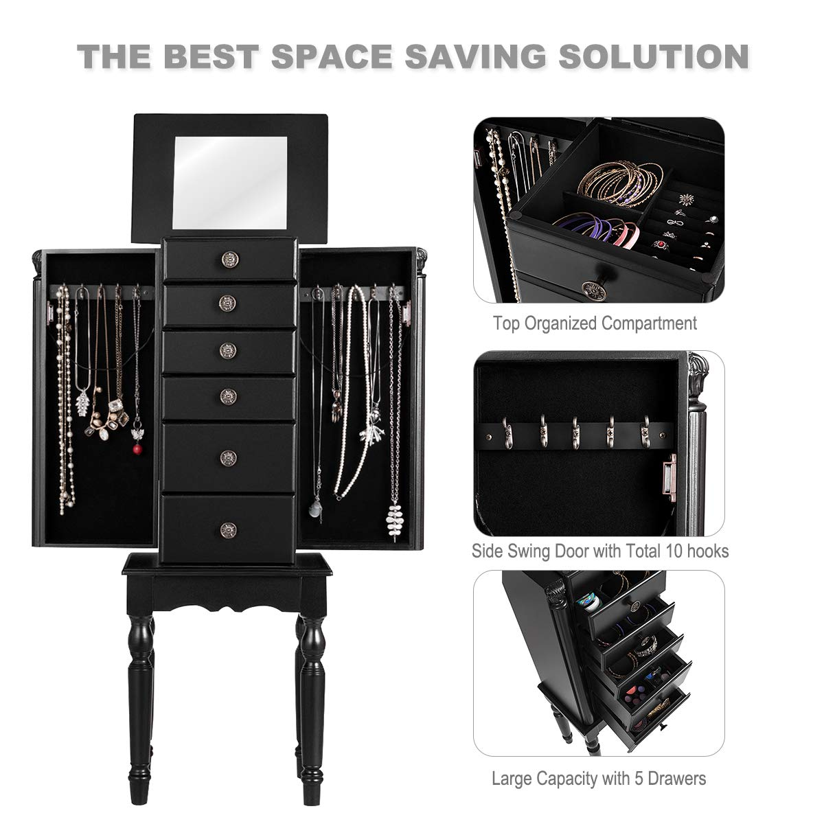 Giantex Jewelry Armoire Chest Cabinet Storage Box with Top Flip Makeup Mirror Large Standing Organizer for Bedroom 10 Necklace Hooks Space Saving Side Swing Doors Jewelry Armoires w// 5 Drawers Black